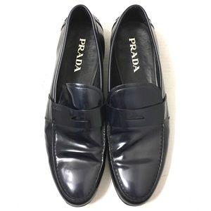 Prada Men's Blue Patent Leather Slip On Shoes